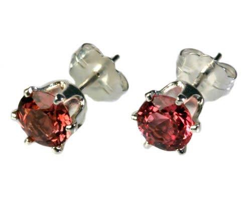 Zilveren oorstekers toermalijn (roze) gefacetteerd 5 mm