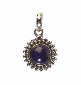 Zilveren hanger lapis lazuli rond bolletjes