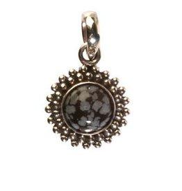 Zilveren hanger obsidiaan (sneeuwvlok) rond bolletjes