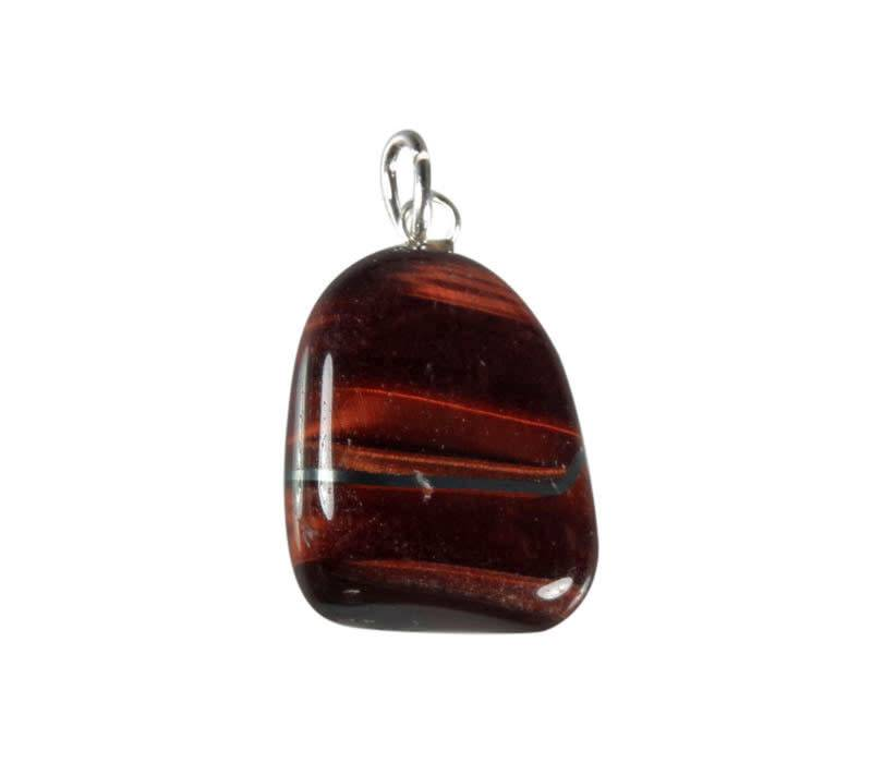 Tijgeroog (rood) hanger met zilveren oogje