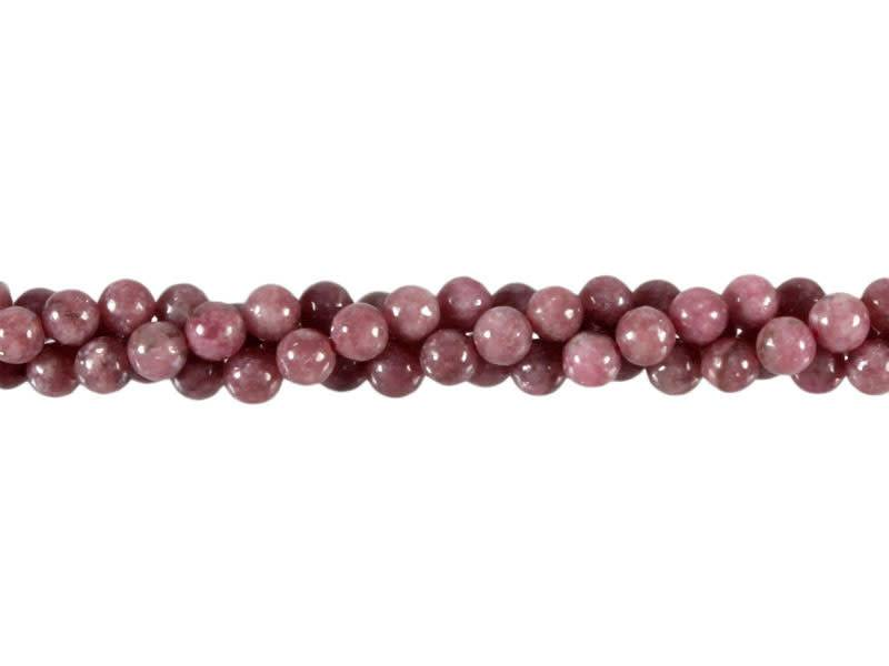 Toermalijn (roze) kralen rond 6 mm (streng van 40 cm)