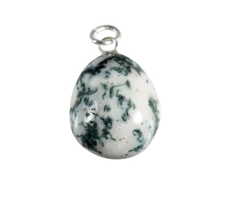 Agaat (boom) hanger met zilveren oogje