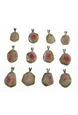 Toermalijn (watermeloen) hanger 1 - 3 gram met zilveren oogje