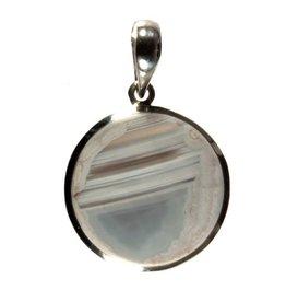 Zilveren hanger agaat (Botswana) rond facet 2,2 cm