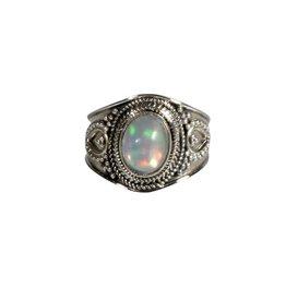 Zilveren ring opaal (edel) maat 16 1/2 | ovaal 9 x 6 mm