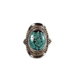 Zilveren ring turkoois maat 18 1/2 | ovaal 1,5 x 1,2 cm