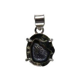 Zilveren hanger agaat geode (donker)