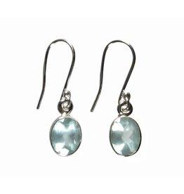 Zilveren oorbellen aquamarijn | ovaal facet 9 x 7 mm