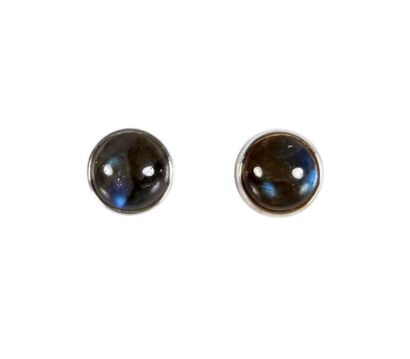 Zilveren oorstekers labradoriet rond 8 mm