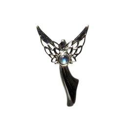 Zilveren hanger labradoriet | rond 3 mm engel