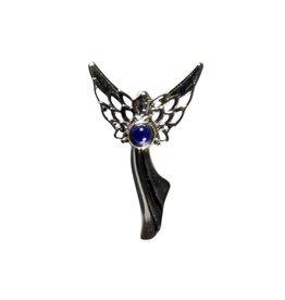 Zilveren hanger lapis lazuli | rond 3 mm engel
