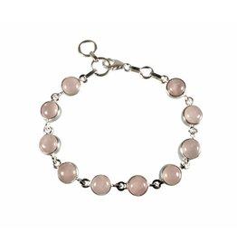 Zilveren armband rozenkwarts | rond 10 stenen