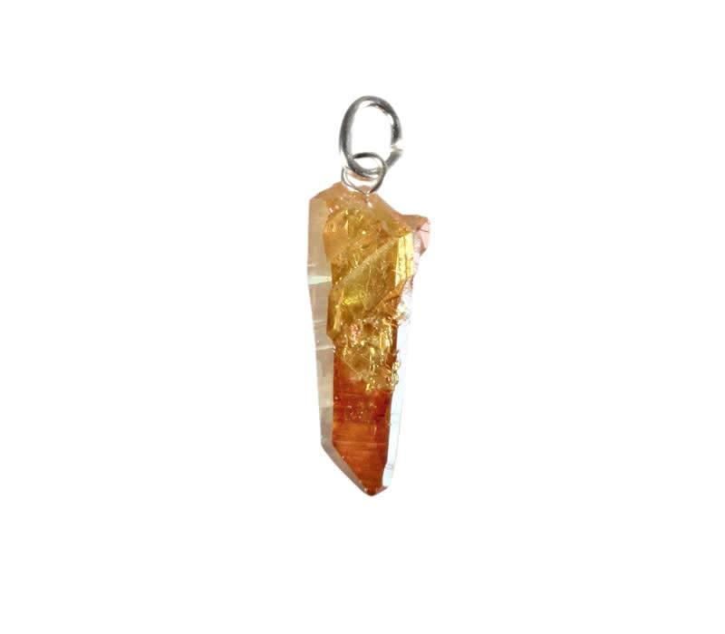Golden sunset aura hanger kristal met zilveren oogje