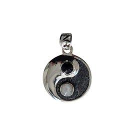 Zilveren hanger onyx en maansteen (regenboog) | yin yang
