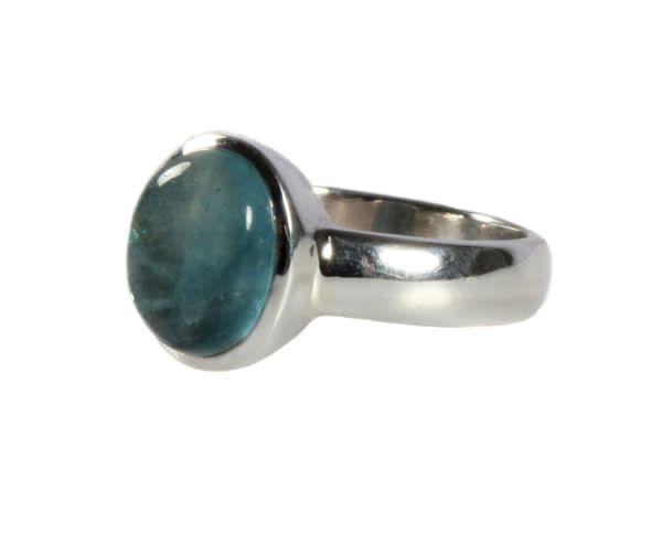 Zilveren ring apatiet maat 18  | ovaal 10 x 8 mm