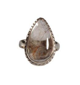 Zilveren ring rutielkwarts maat 18 1/4   druppel 2 x 1,3 cm