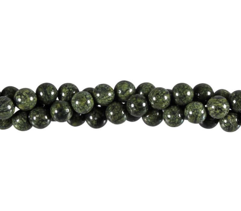 Serpentijn (Russisch) kralen rond 8 mm (streng van 40 cm)