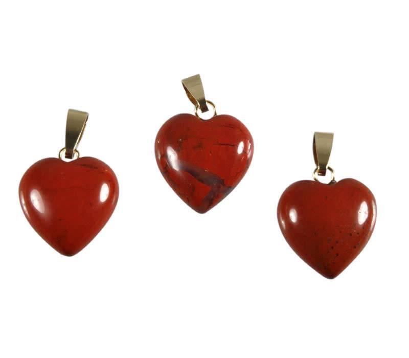 Jaspis (rood) hanger hart met 14k gouden oogje