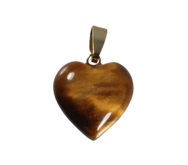 Tijgeroog hanger hart met 14k gouden oogje