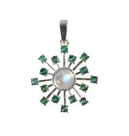 Zilveren hanger smaragd en maansteen (regenboog) | ster
