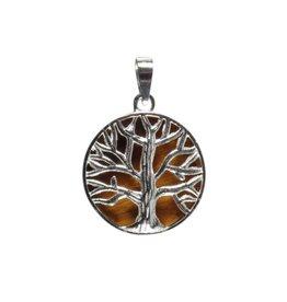 Zilveren hanger tijgeroog levensboom