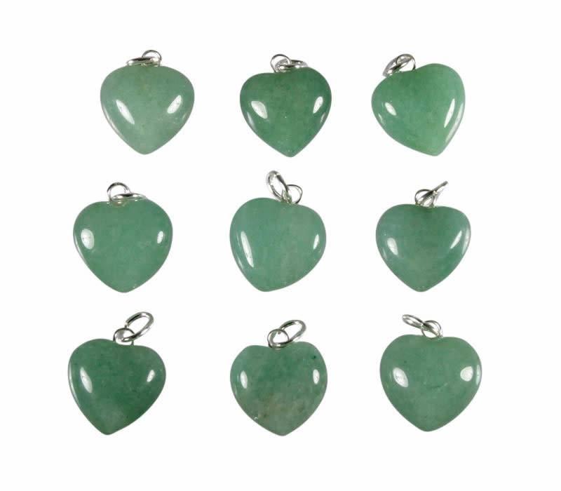Aventurijn (groen) hanger hart 15 mm met zilveren oogje