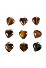 Tijgeroog hanger hart 15 mm met zilveren oogje