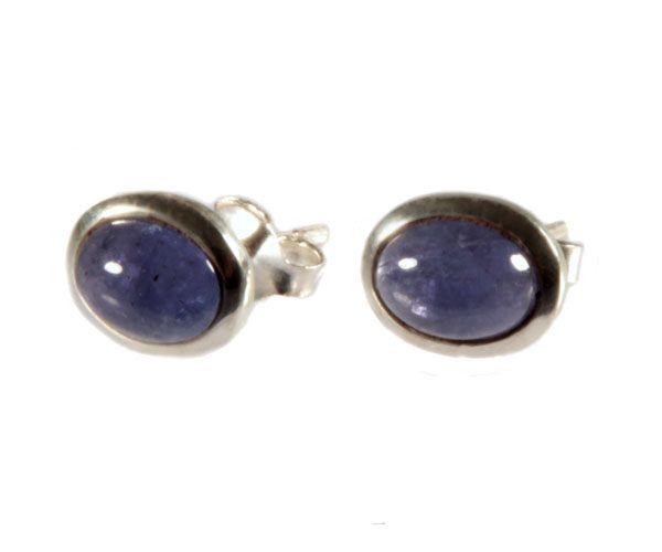Zilveren oorstekers tanzaniet cabochon ovaal 8 x 6 mm