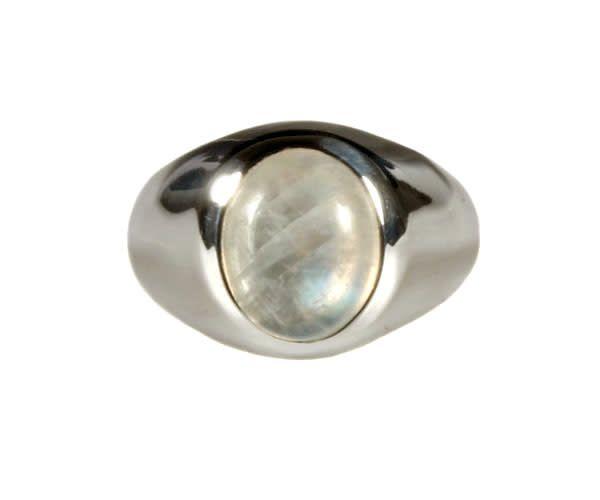 Zilveren ring maansteen (regenboog) maat 15 1/4 | ovaal 10 x 8 mm brede band