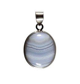 Zilveren hanger chalcedoon | ovaal 2,5 x 2,1 cm
