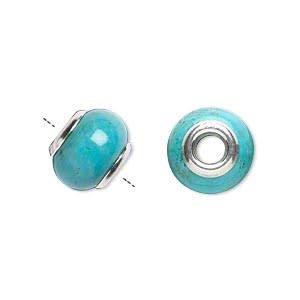 Zilveren kraal howliet (turquoise) rondelle