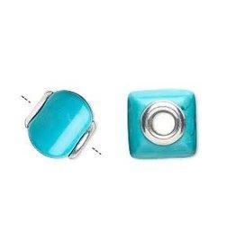 Zilveren kraal howliet (turquoise) vierkant