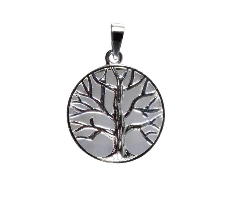 Zilveren hanger maansteen (regenboog) levensboom