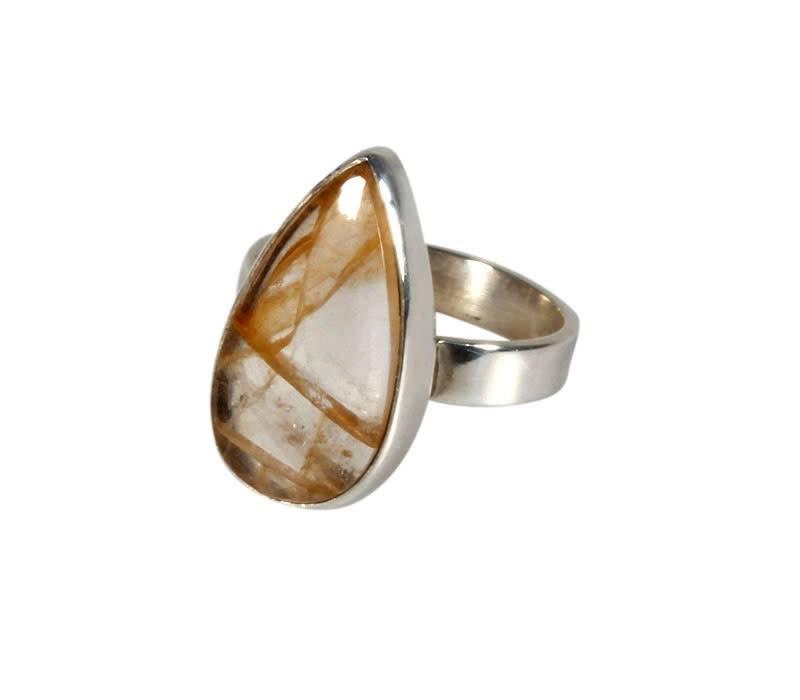 Zilveren ring golden healer maat 16 1/2 | druppel 1,9 x 1 cm