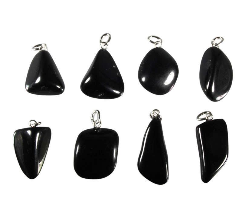 Jade (zwart) hanger met zilveren oogje