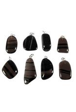 Obsidiaan (lamellen) hanger met zilveren oogje