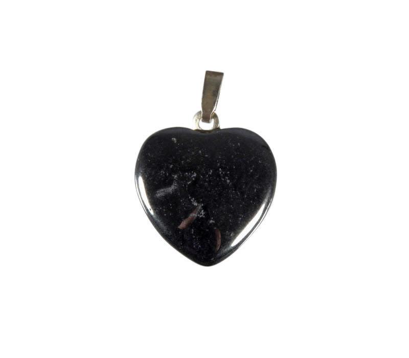 Hematiet hanger hart 15 mm met zilveren oogje
