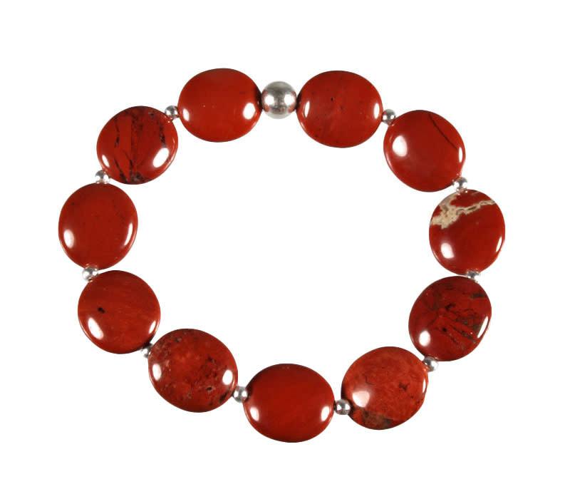 Zilveren armband jaspis (rood) ovale kralen