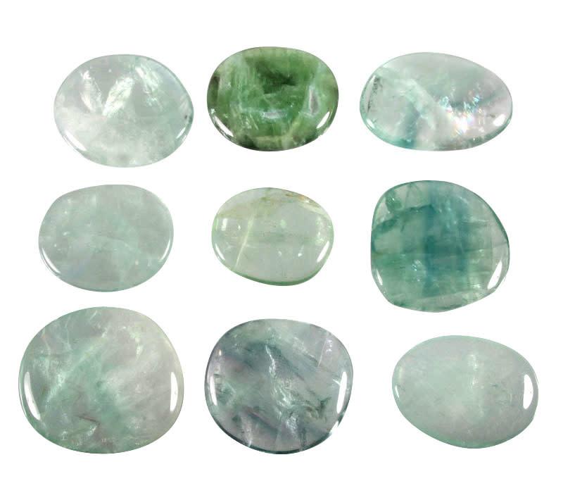 Fluoriet (groen) steen plat gepolijst