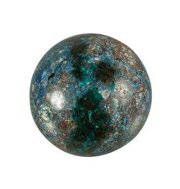 Dioptaas en azuriet in shattuckiet edelsteen bol 66 mm / 461 gram