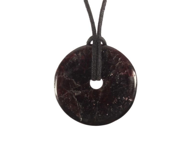 Granaat (donker) hanger donut 3 cm