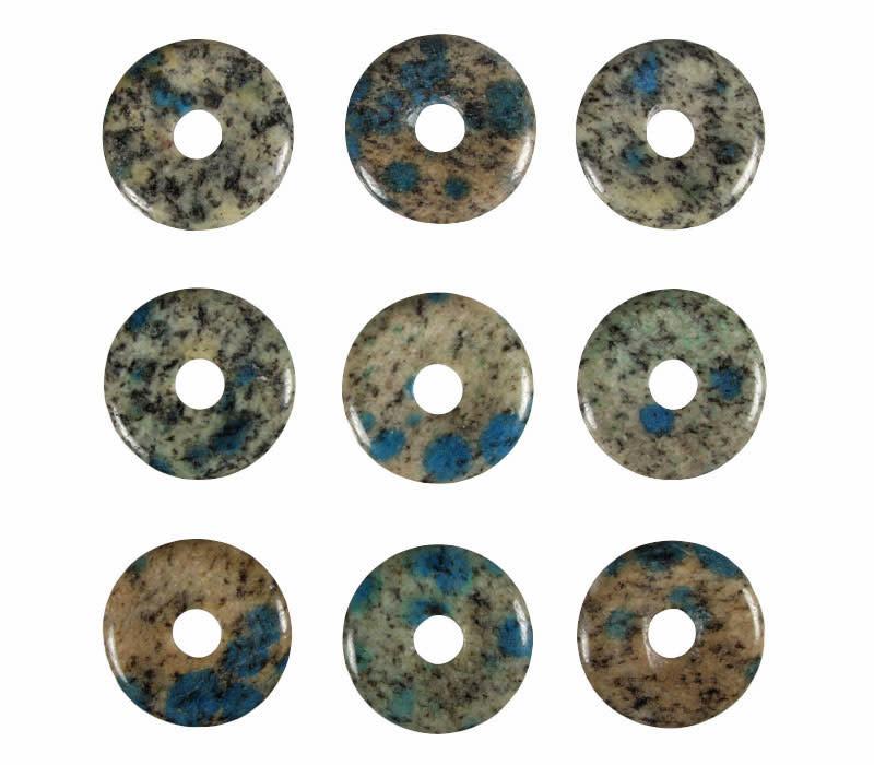 K2 jaspis (azuriet in graniet) hanger donut 3 cm