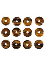 Tijgeroog hanger A-kwaliteit donut 3 cm