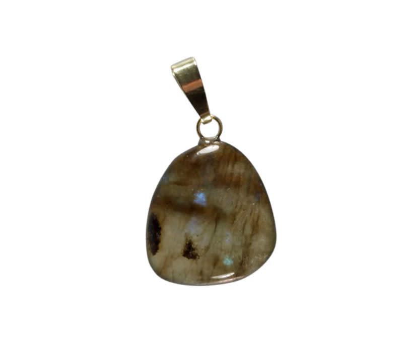 Labradoriet hanger met 14k gouden oogje