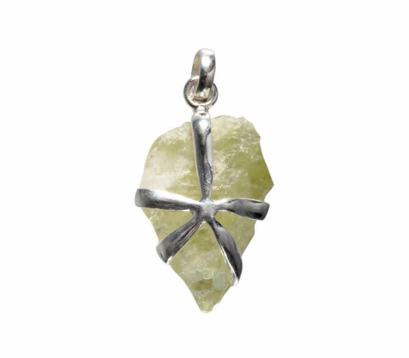 Zilveren hanger brazilianiet | kristal gezet 2,6 x 1,6 cm