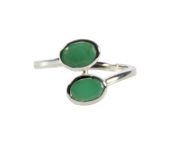 Zilveren ring chrysopraas maat 18   2 ovalen