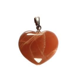Zilveren hanger maansteen (roze/bruin) hart 1,5 - 2 cm