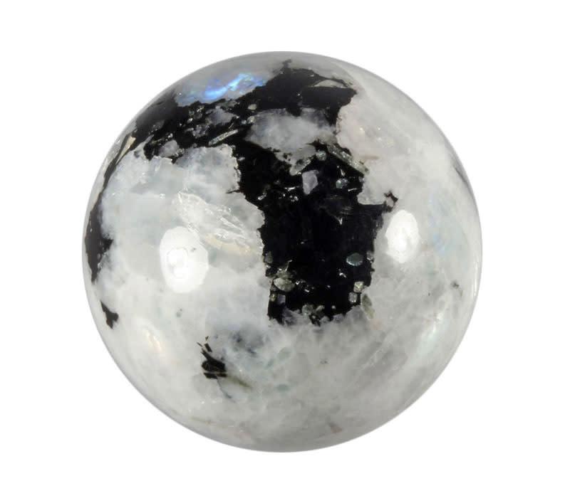 Maansteen (regenboog) met toermalijn (zwart) edelsteen bol 60 mm / 317 gram