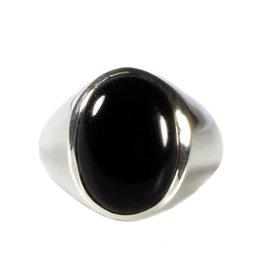 Zilveren ring onyx maat 20 1/2 | ovaal 17 x 13 mm