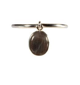 Zilveren ring labradoriet maat 16 1/2 | bedeltje